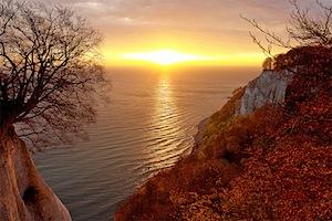 Rügens Kreideküste zeigt sich jetzt in warmen Herbstfarben. © djd/Nationalpark-Zentrum KÖNIGSSTUHL